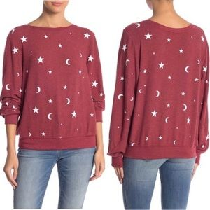 WILDFOX Couture Moon & Stars Pullover Sweatshirt